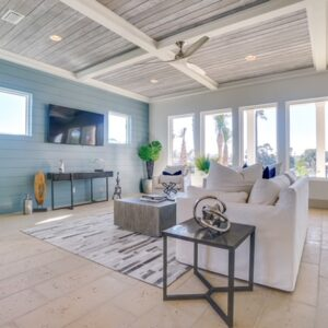 living area with coastal touches
