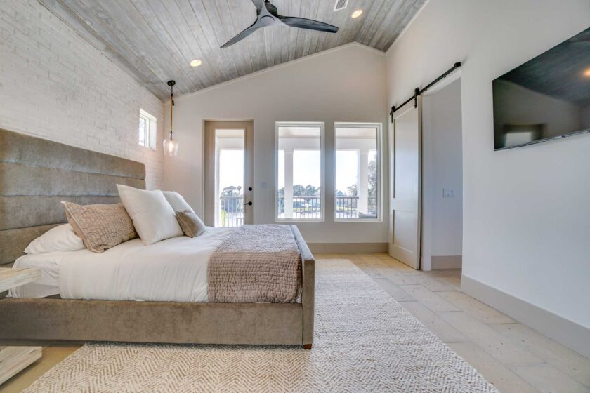 bedroom with tall windows
