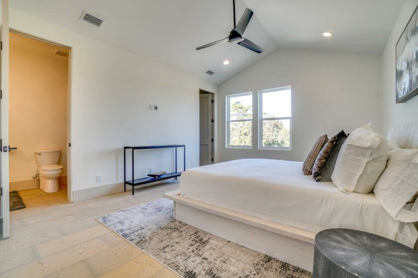 bedroom with tall ceilings