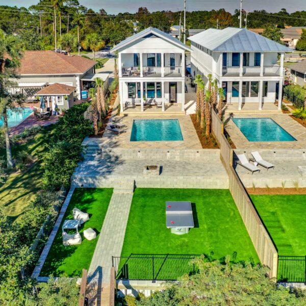 aerial view back yard