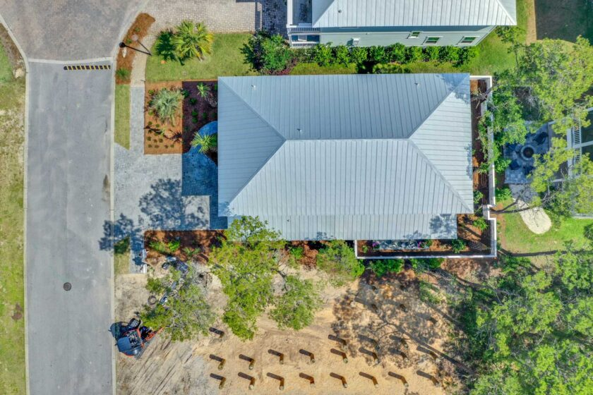 overhead view of roof
