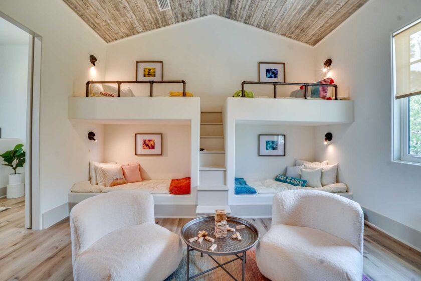 guest room with built in bunk beds