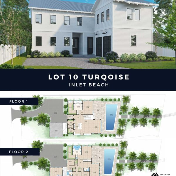 Exterior view of house and artist rendering of floorplans
