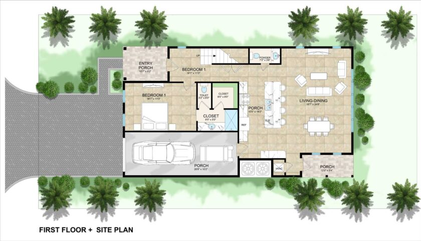 site plan and first floor