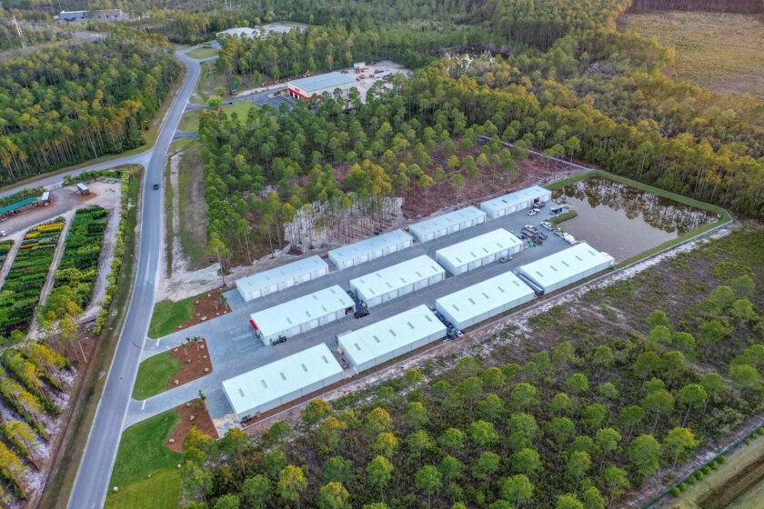 Aerial view storage facility commercial property built in PCB