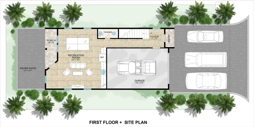 first floor floorplan and site plan lot 2 Inlet Heights