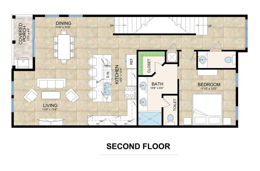 second floor floorplan lot 2 Inlet Heights