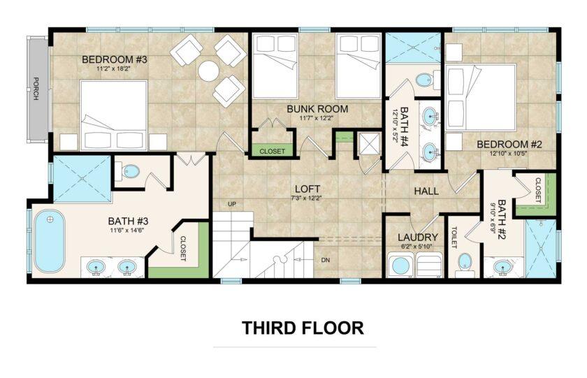 third floor floorplan lot 2 Inlet Heights