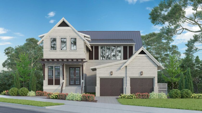 Artists rendition of the exterior view of front of this new luxury home