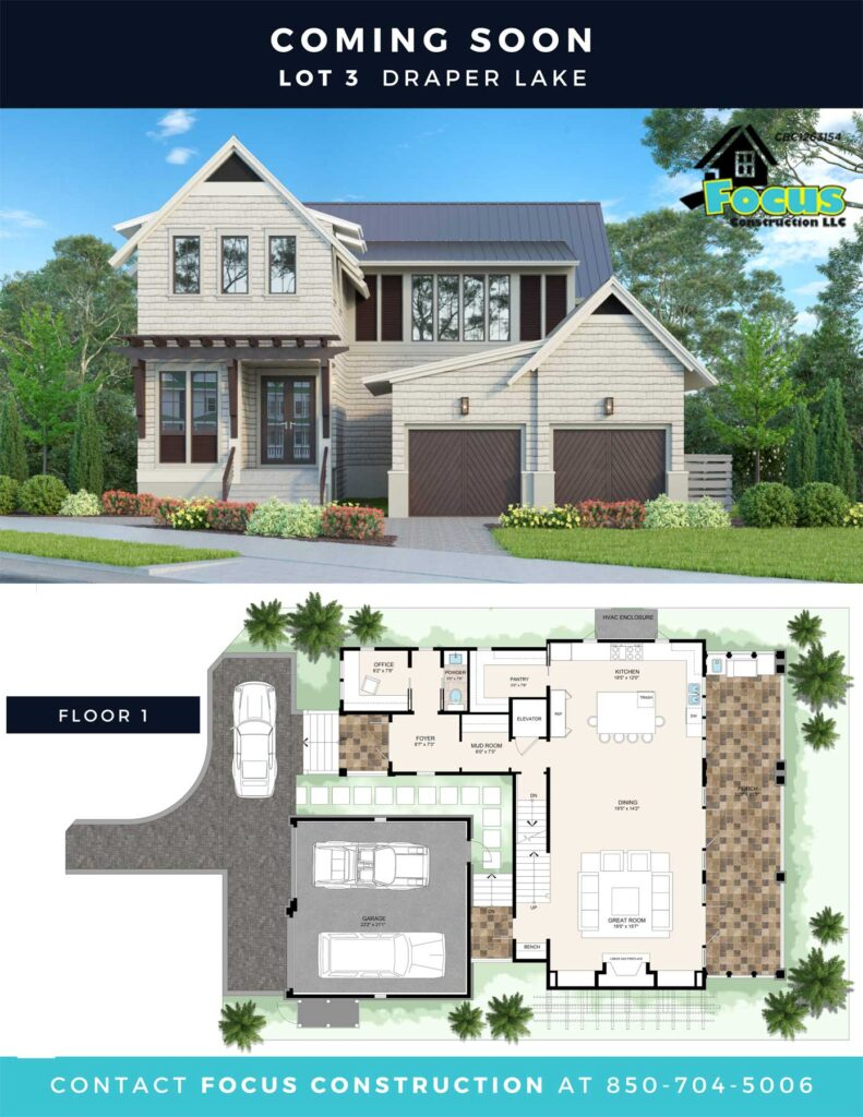 Front elevation and floorplan